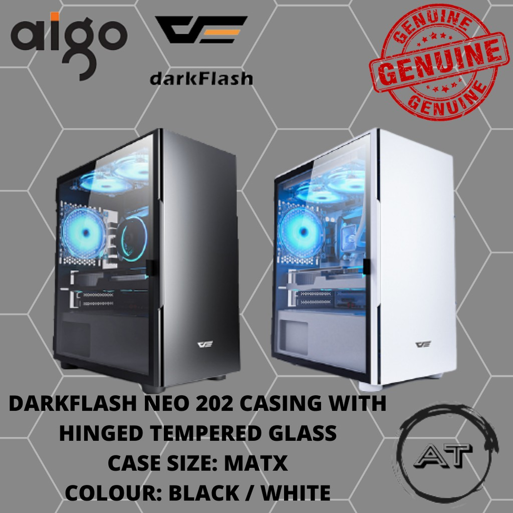 DARKFLASH NEO 202 MICRO ATX CASING WITH HINGED TEMPERED GLASS - WHITE/BLACK