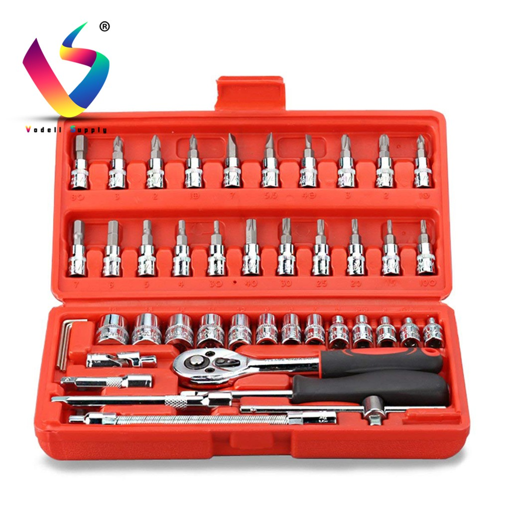 Satagood 46pcs Chrome Vanadium Socket Set Tool Box Set