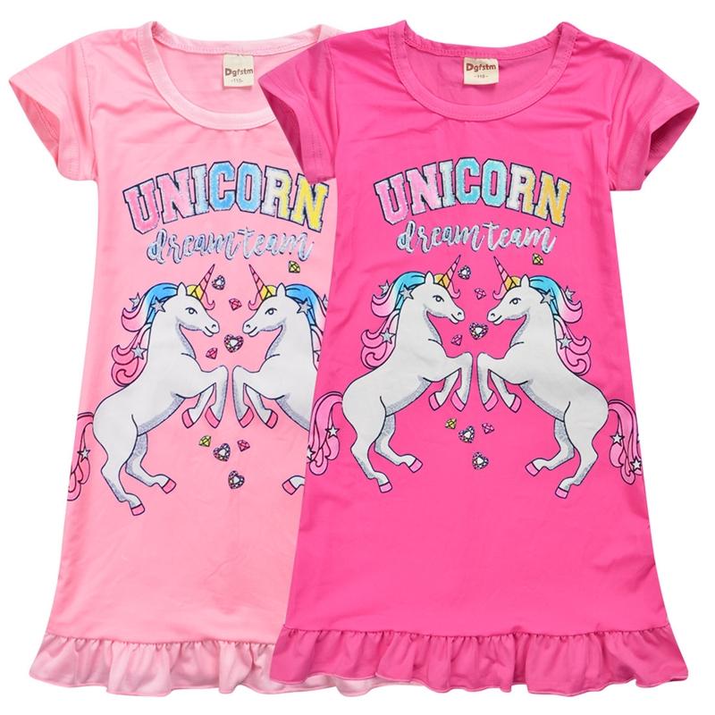 Girls Nightwear Unicorn Pajamas Nightdress Cartoon Party gown Nightie Dress Pjs