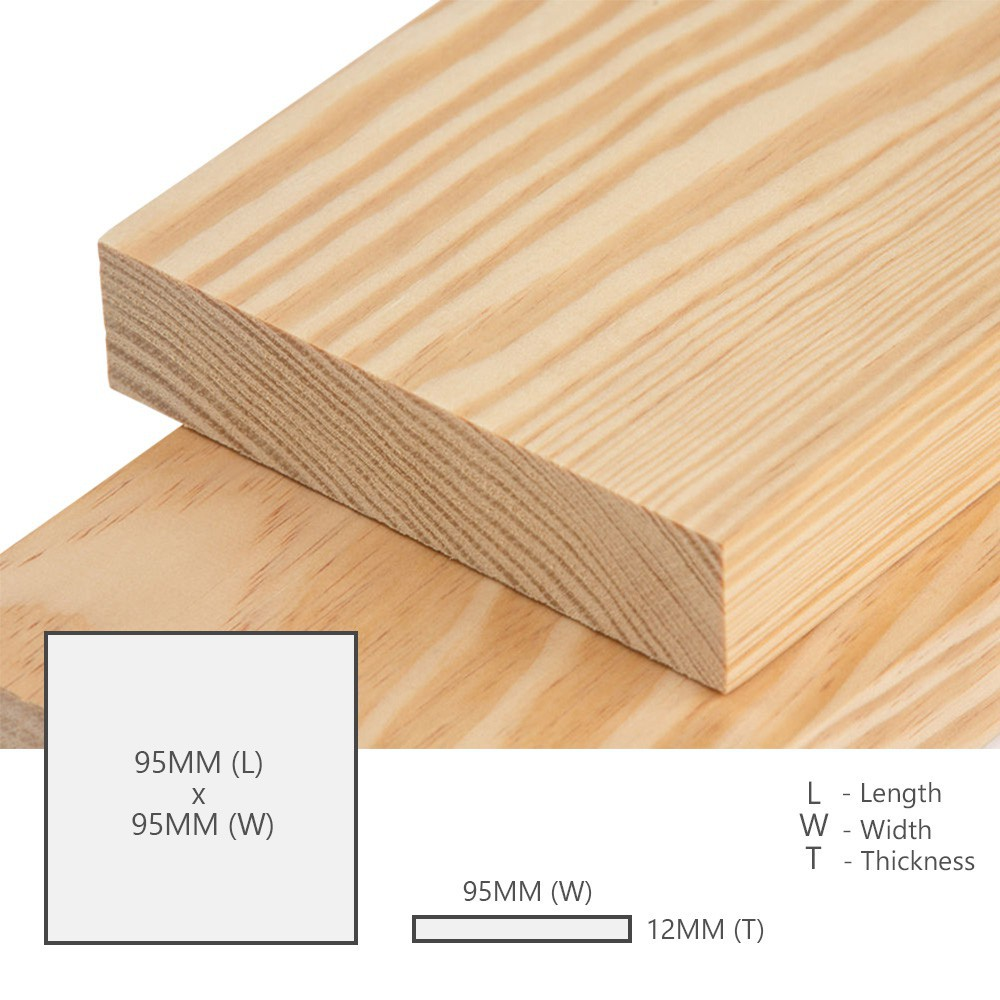 Kayu Pine Wood Timber Smooth Planed Surfaced Four Sides (S4S) 12MM (T) x 70MM (W) x 70MM (L)