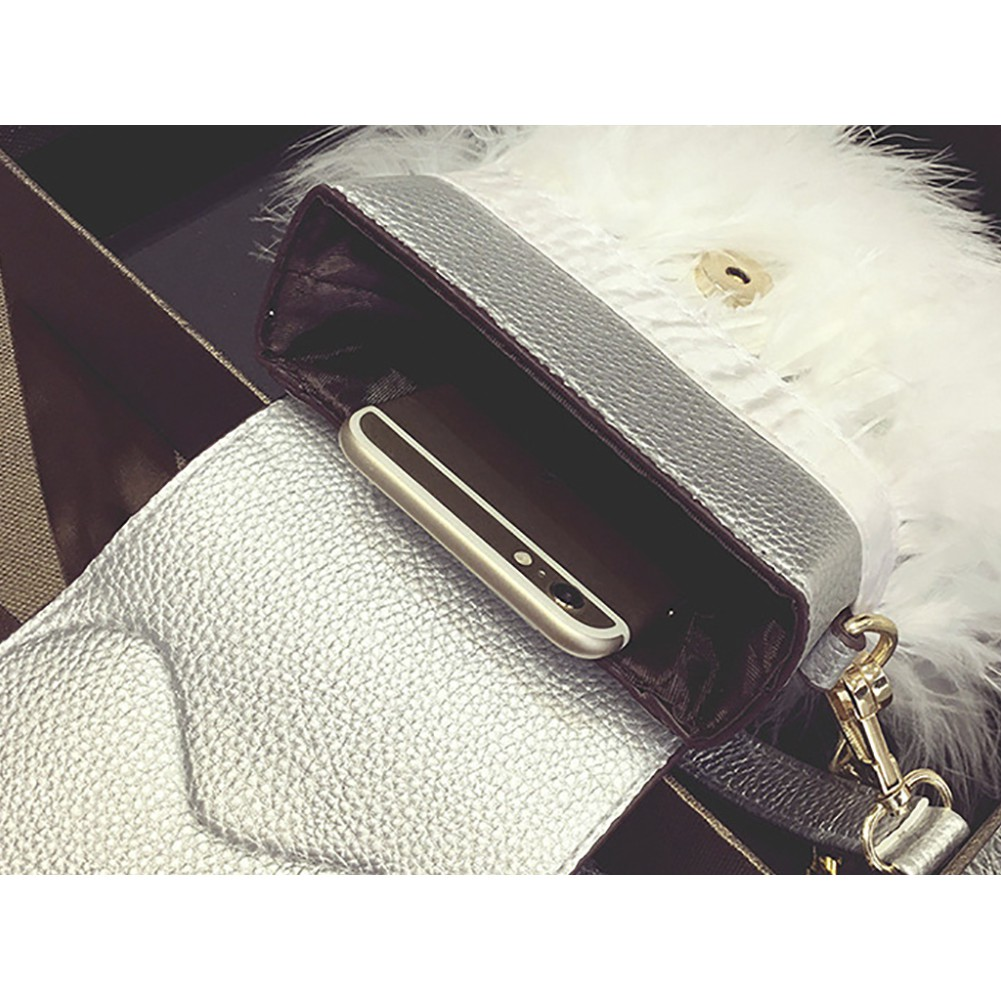 59191b7d3e1c Women's Faux Fur Clutch Bag Zipper Furry Purse Shoulder Handbag ...