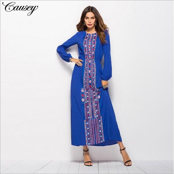 e55777606d Elegant Muslim Abaya Print Maxi Dress Long Sleeve Full Skirt Kimono Long  Robe Go