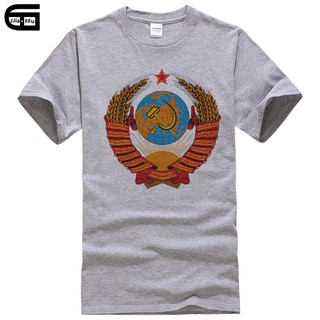 Russian Hammer And Sickle CCCP Red Army Soviet Mens Loose Fit Cotton T-Shirt