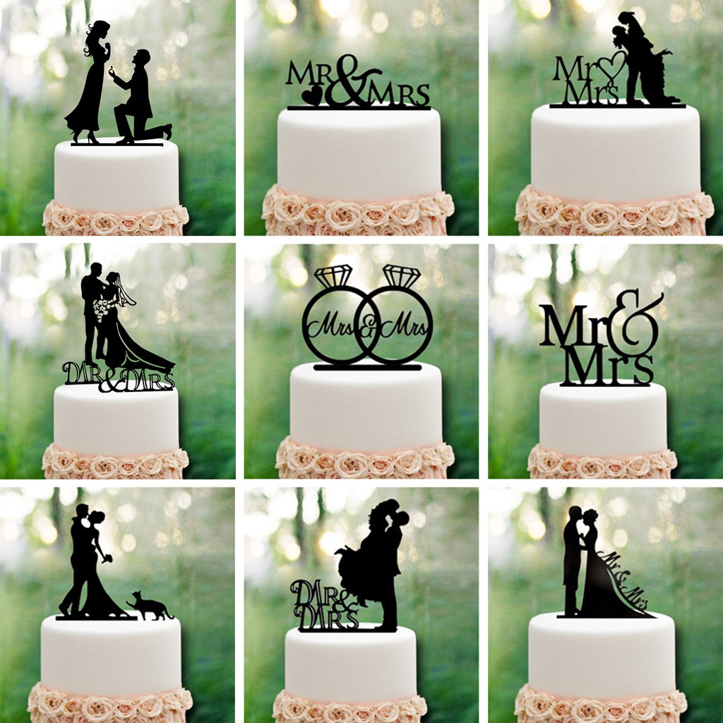 Wedding Cake Topper Proposing Bride /& Groom Proposing Black Acrylic Decoration
