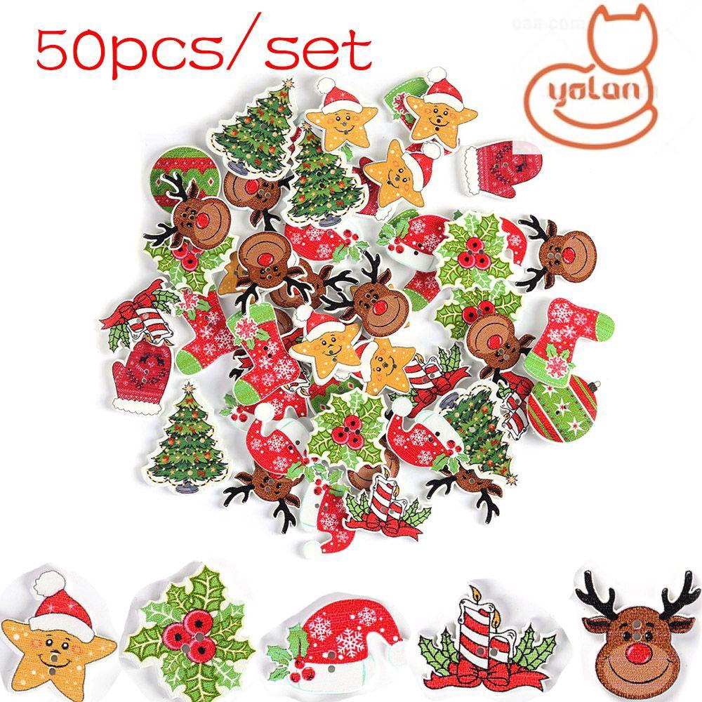 50PCS Mixed Christmas Wooden Buttons 2 Holes Xmas Tree Elk Sewing Crafts Decor