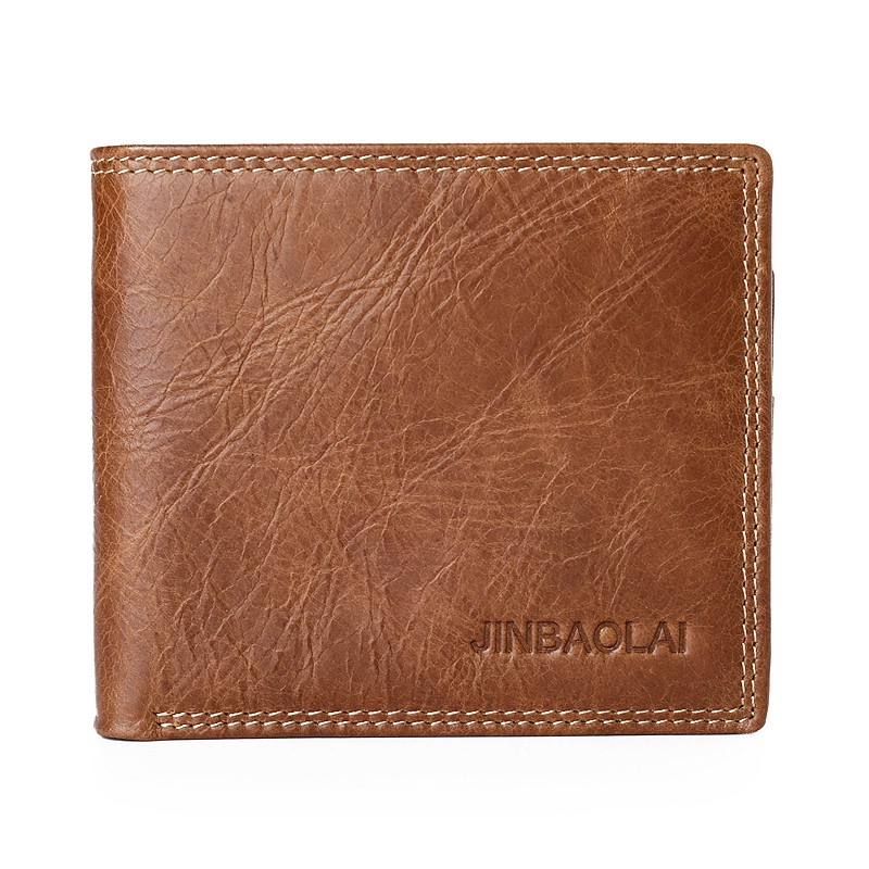 JINBAOLAI Leisure Style Top Layer Cowhide Leather Short Purse Bi-fold Wallet with 2 Concealed Pocket for Men - Brown
