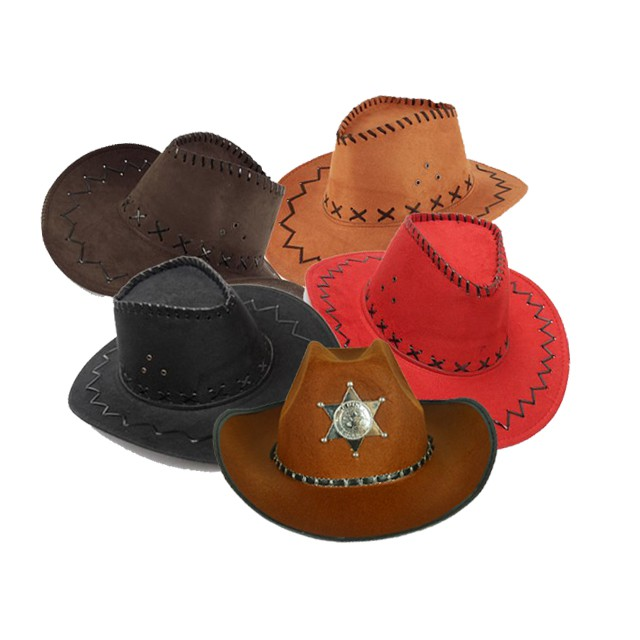 Brown Stressed Leather Effect Cowboy Hat Mens Ladies Wild Western Fancy Dress