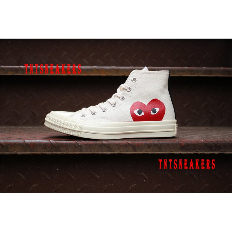 official photos aliexpress skilful manufacture Original CDG Play X Converse Chuck Taylor Hi High Top Sneakers Shoes J2
