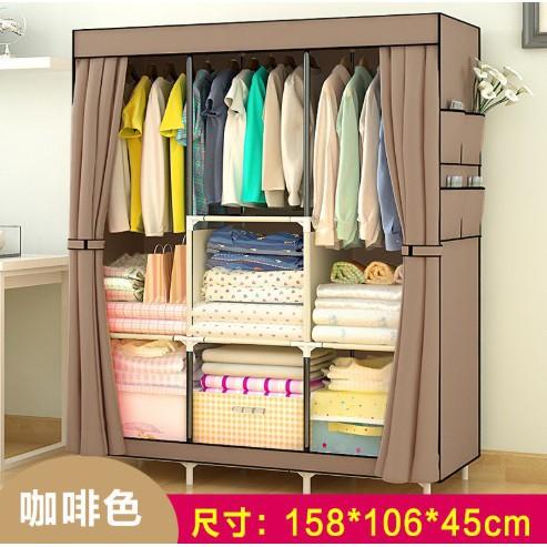 Wardrobe Almari Baju Rak Baju Clothes Organization Storage Rack Cabinet Clothes Rack Bedroom Furniture Cupboard H158cm