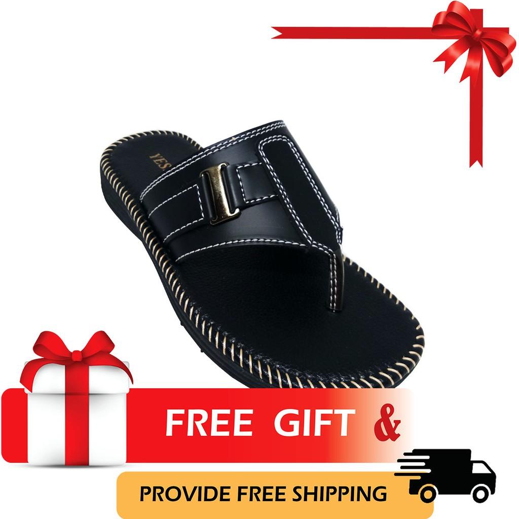 SHL Men PU Leather Sandal Casual Slip On Selipar Kasut Lelaki size 40-44【男士拖鞋】-3000