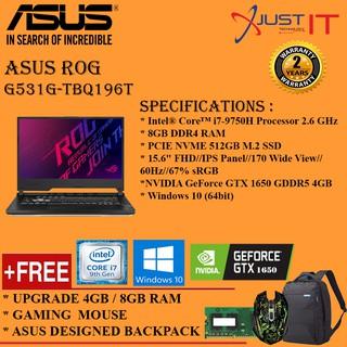 UPGRADED) ASUS ROG STRIX G531G-TBQ196T I7-9750H 12G/16GD4