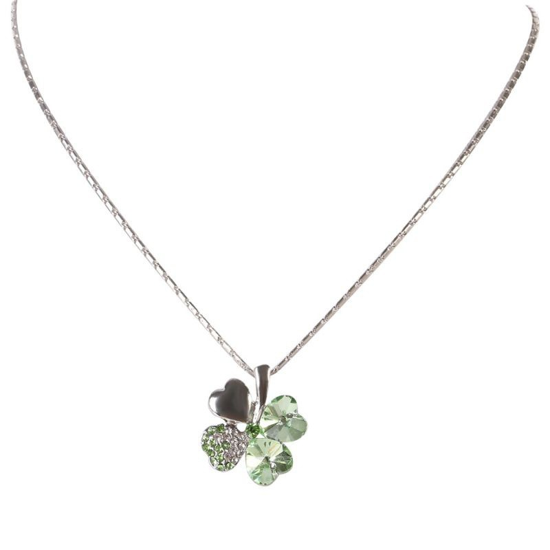 Women girl silver clover lucky crystal pendant chain necklace gifts women girl silver clover lucky crystal pendant chain necklace gifts charming shopee malaysia mozeypictures Gallery