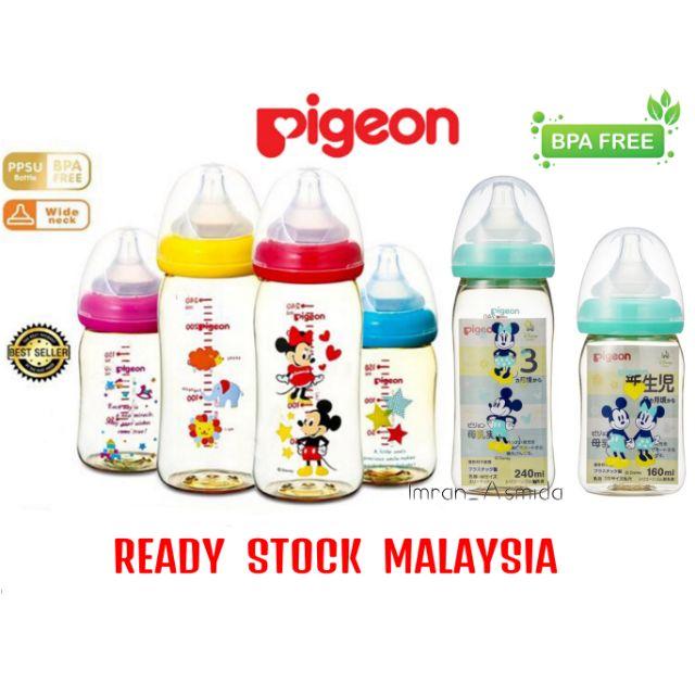 READY STOCK Pigeon Wide Neck Bottle Soft touch 160ml / 240ml milk bottle original PPSU korea bottle feeding pigeon
