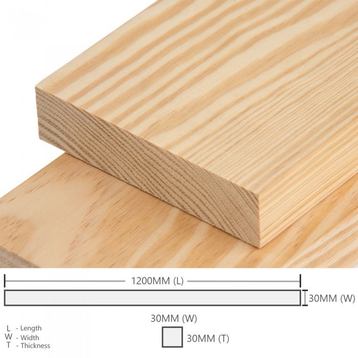 Kayu Pine Wood Timber Smooth Planed  Surfaced Four Sides (S4S) 30MM (T) x 30MM (W) x 1200MM (L)