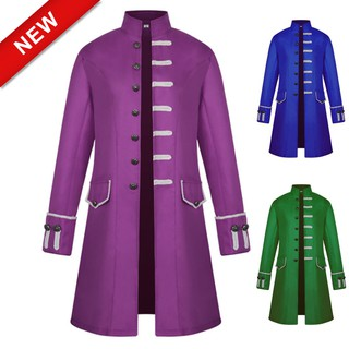 the latest 2ab4b 24662 New men jacket windbreaker long punk retro stand collar trench coat