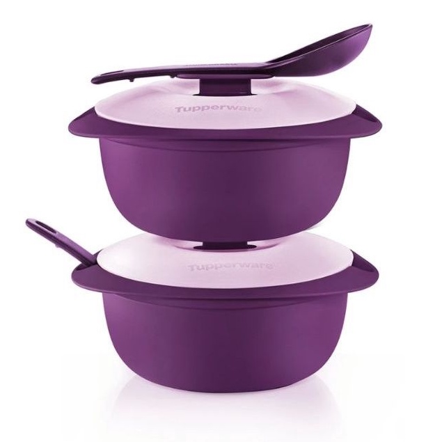 Tupperware Purple Royale Round Server with Serving Spoon (2) 1.6L