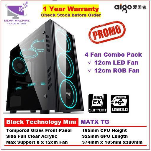 #Aigo Black Technology Mini MATX Front TG Side Acrylic Gaming Chassis  (Combo 4 Fan Pack)