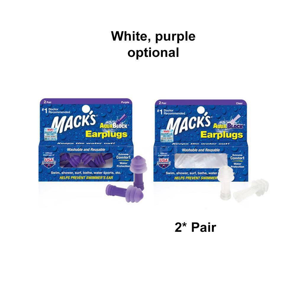 MACK/'S MACKS AQUABLOCK SWIMMING EARPLUGS 1 /& 2 PAIR PURPLE OR CLEAR