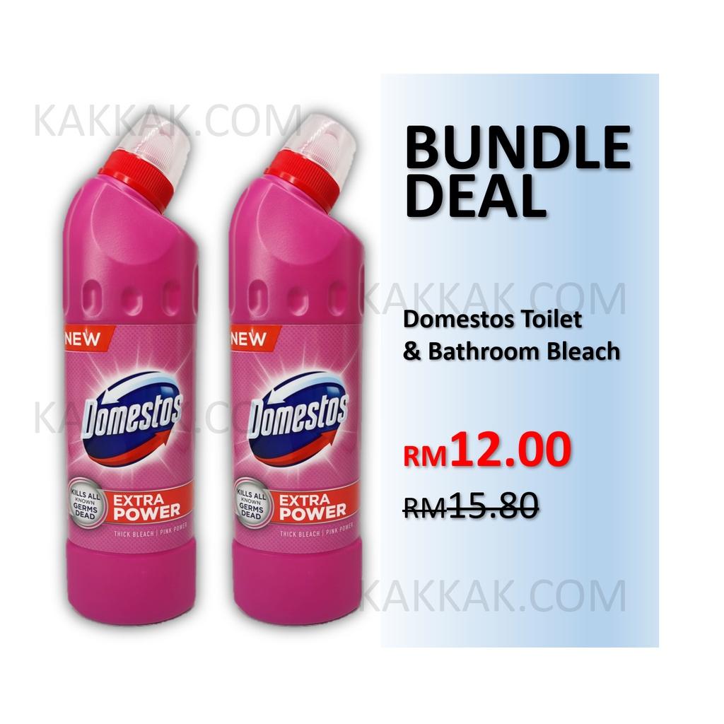 [BUNDLE DEAL] DOMESTOS Toilet & Bathroom Bleach Cleaner Liquid Toilet Bowl Cleaning 500ml x2 bottles (PINK POWER)