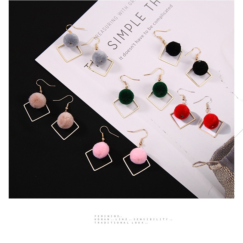 4ebc3943f70db New Korean Simple All-match Geometric Diamond Pompon Plush Ball Earrings  Anting