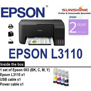 Epson Inkjet L3110 3 IN 1 Printer (Compatible ink included x 4