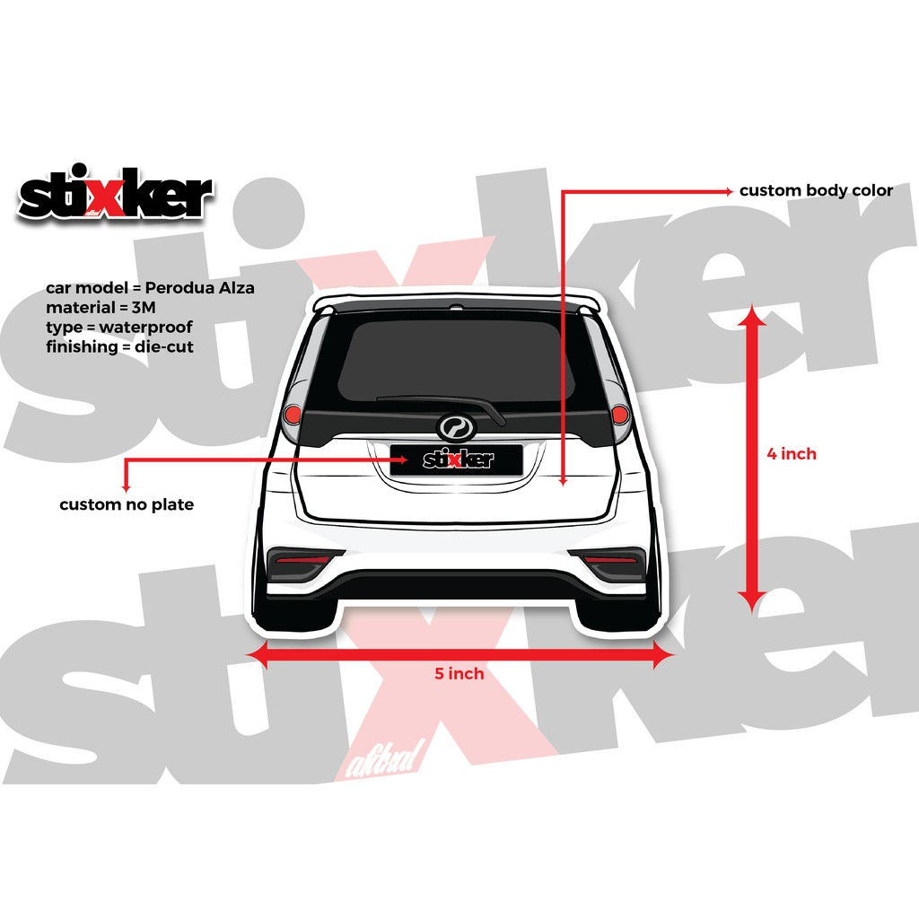 Alza body sticker red black blie silver white red yellow shopee malaysia