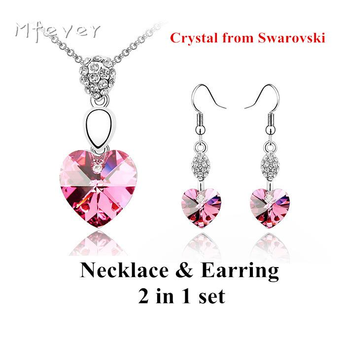 a3b5d317a68e0 Swarovski crystal necklace& earring 2in1 jewelry set accessory for ...