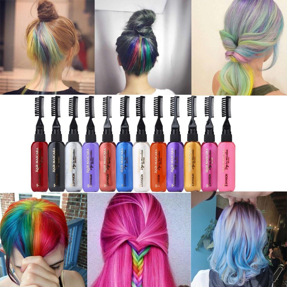 62da3f6bf0f 13 Colors One-time Hair Dye Mascara Temporary Non-toxic DIY Hair Color  Mascara | Shopee Malaysia
