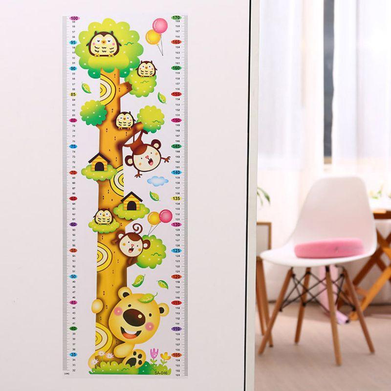 卡通身高贴墙贴 长颈鹿视力表幼儿园身高尺儿童房壁装饰墙纸贴画