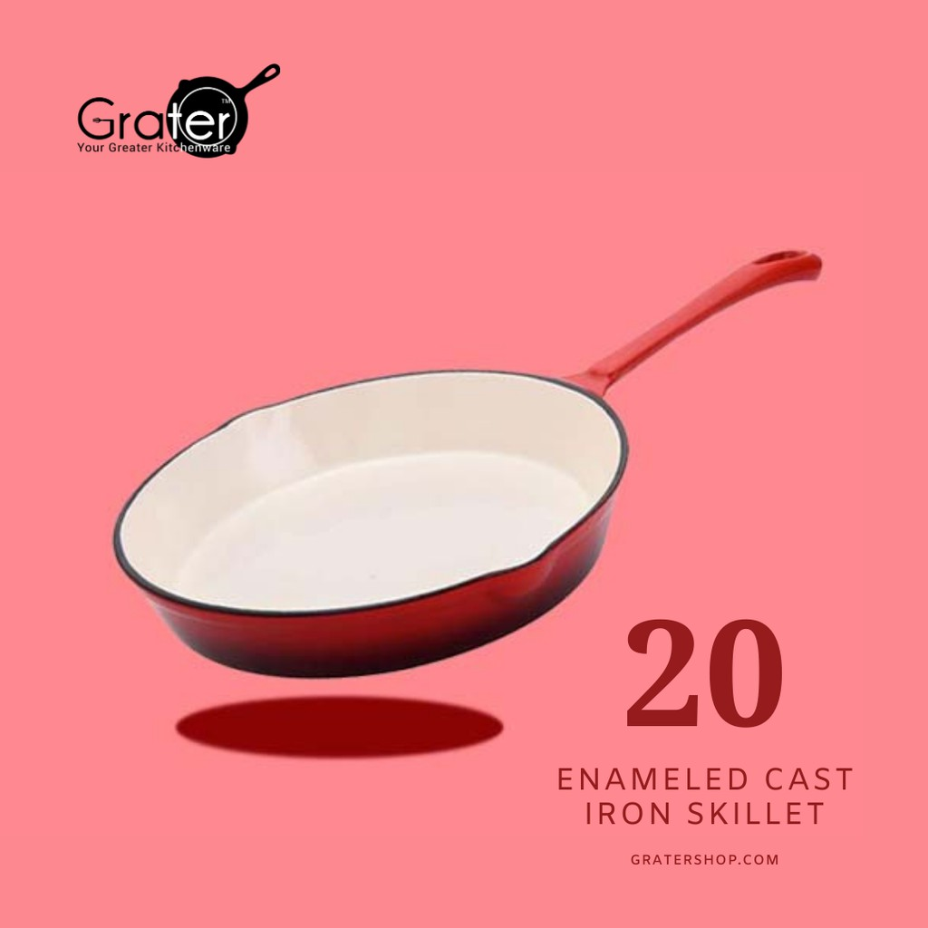 "20CM GRATER Enameled Cast Iron Skillet Frying Pan [ 8""]"