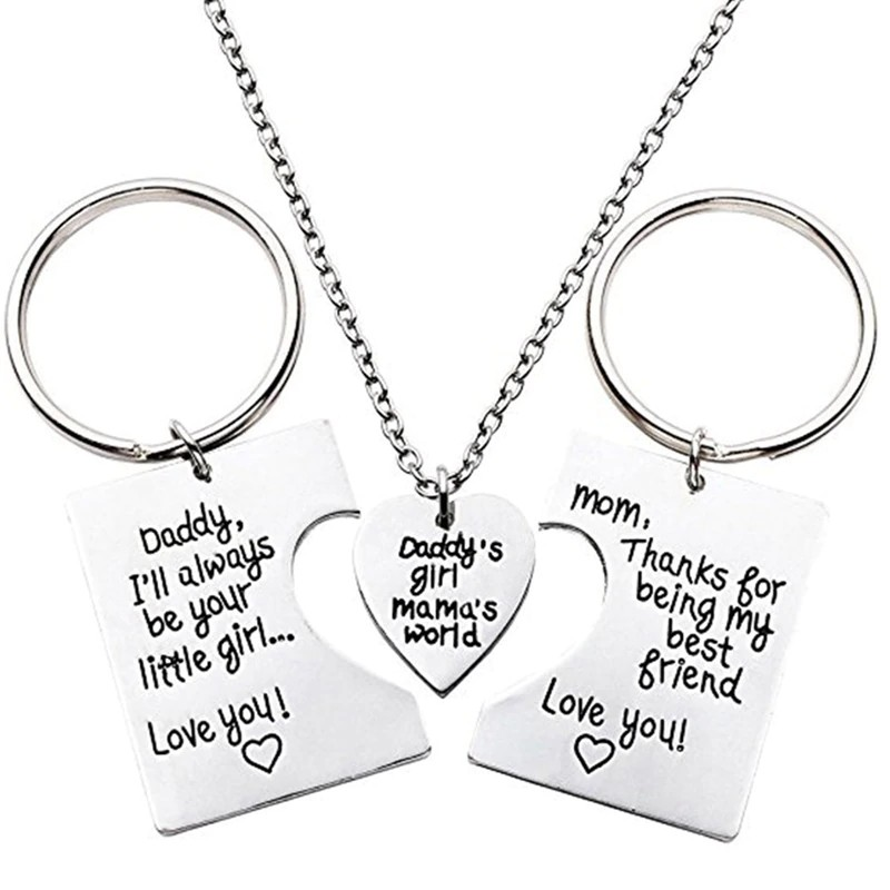 Custom Personalized Stainless Steel Heart Love Keychain Keyring//Necklace Pendant for Girl Women,Mom Daughter GF Gift