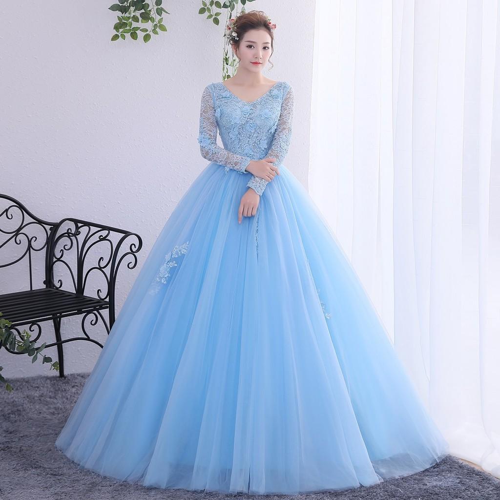 po muslimah long sleeve pink blue ball wedding bridal prom dress gown rbmwd0173