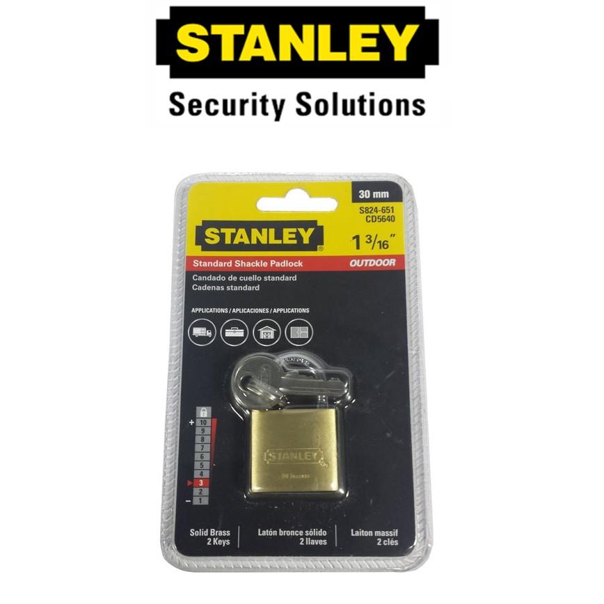 STANLEY S824-651 BRASS PADLOCKS STANDARD SHACKLE '30MM SECURITY LOCK