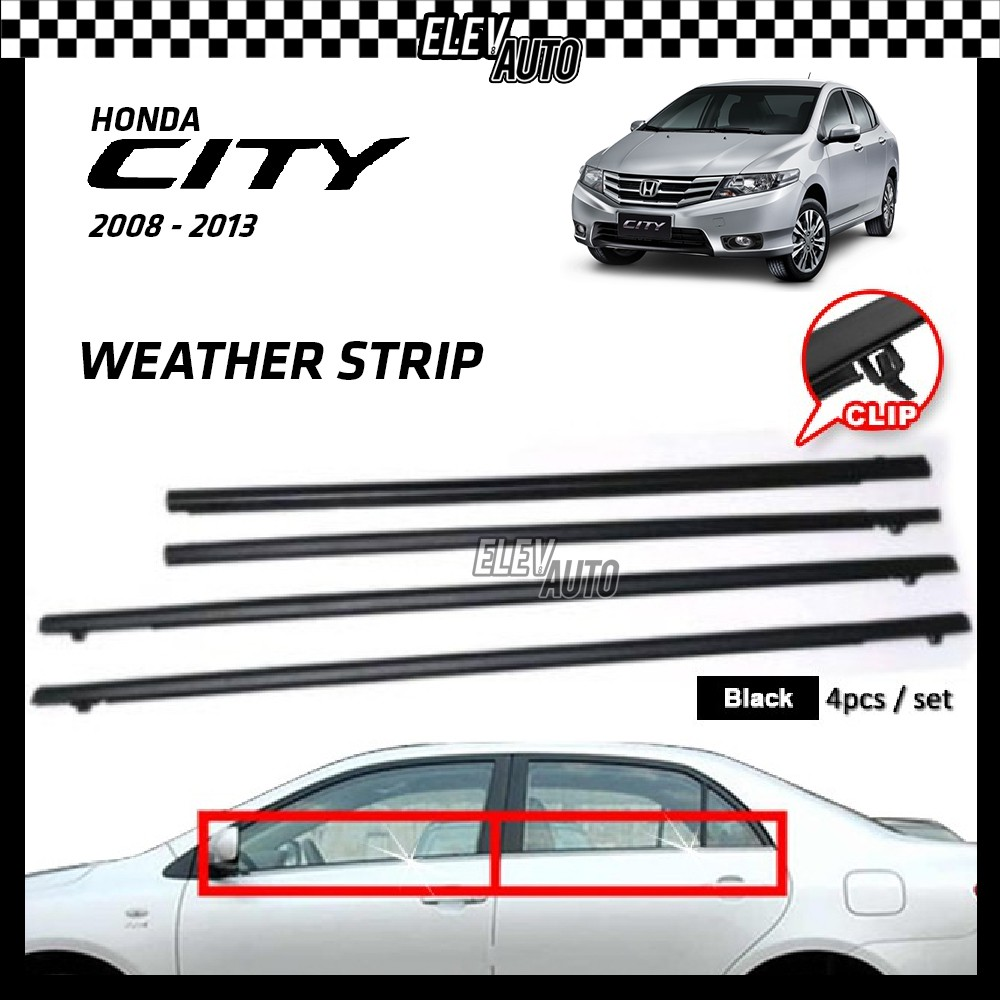Honda City 2008-2013 Weather Strip Weatherstrip Window Moulding Belt 4pcs (Black)