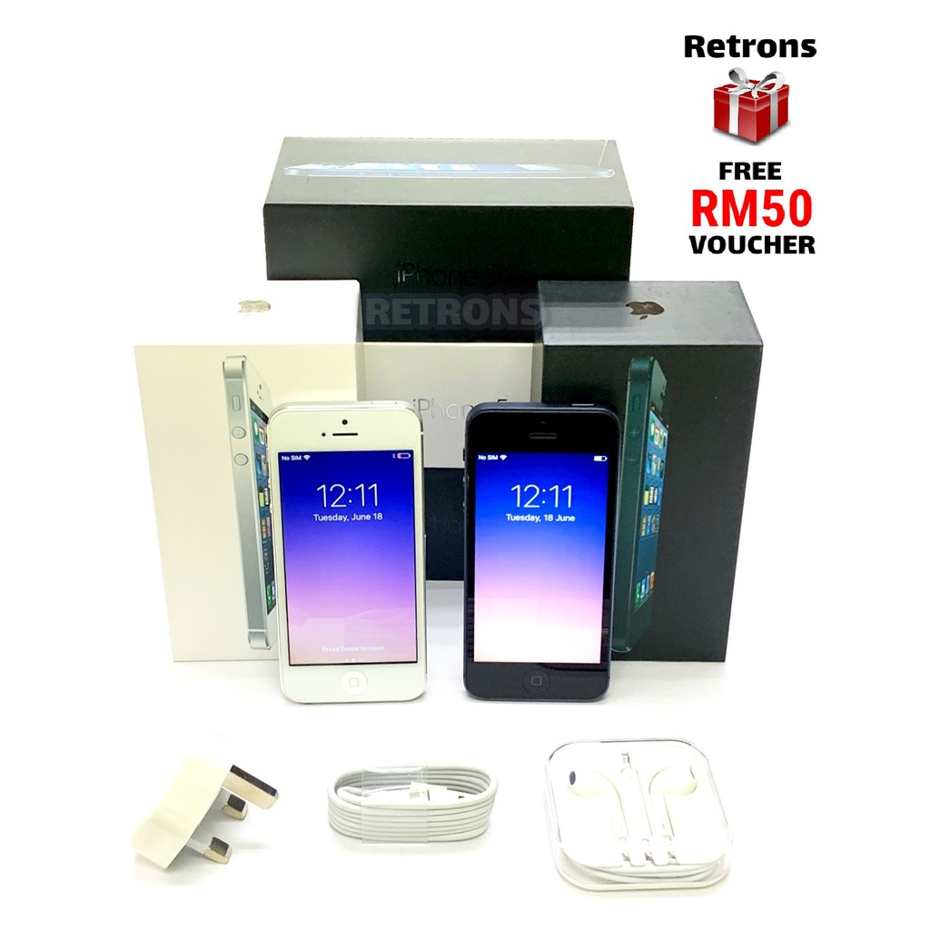 🇲🇾 Seller Original Apple iPhone 5 16GB 32GB 64GB 98% Like New Used Phone With 1 Month Warranty