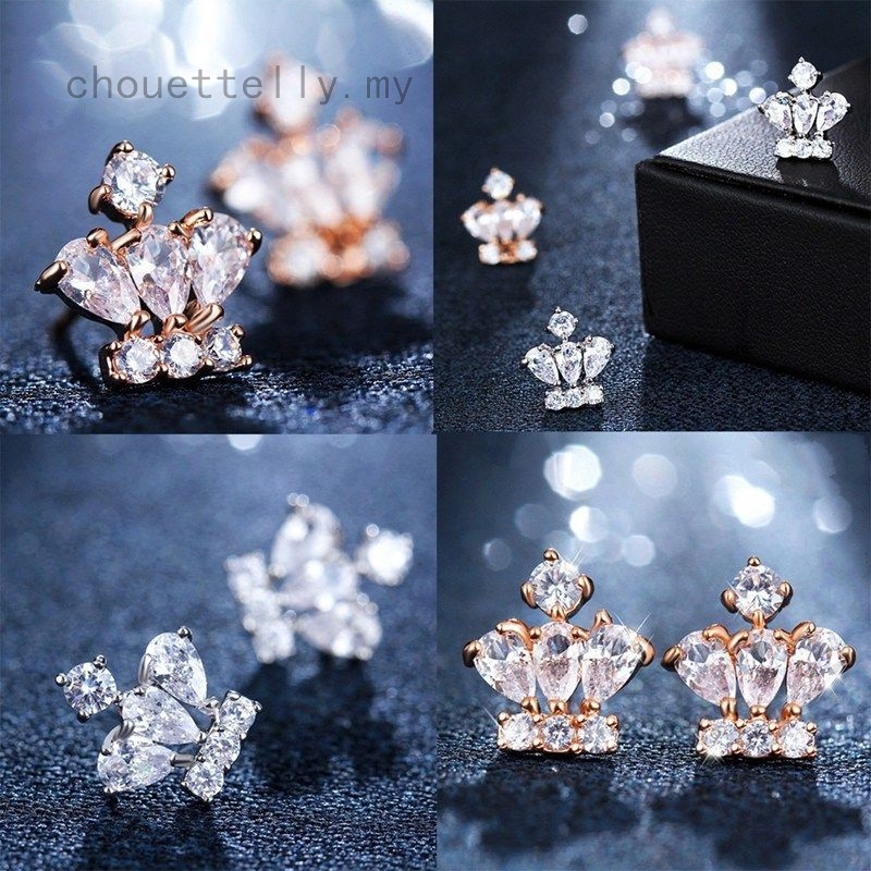 2pcs European And American Clear Crystal Crown Shape Stud Earrings Women Jewelry