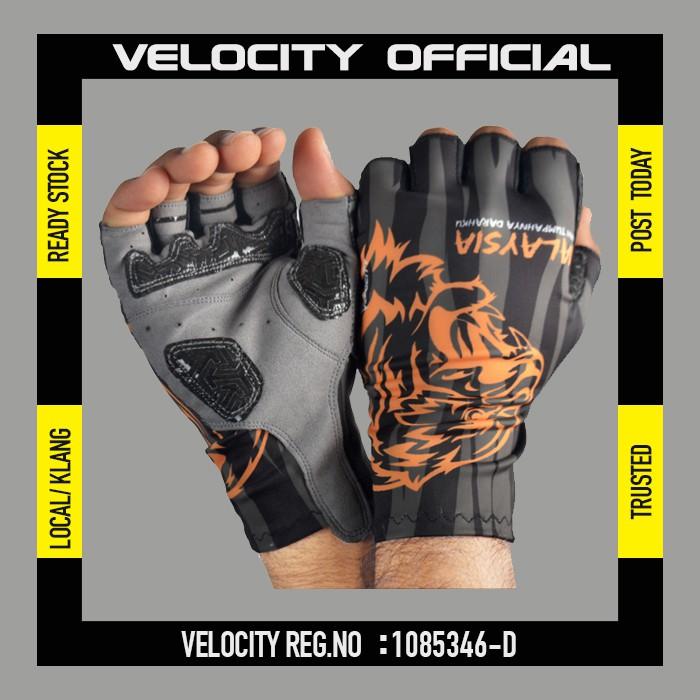 Cycling Glove Gel Velocity Gloves Orange Tiger Half Finger Glove UV Protection Glove Harimau Malaya Stretchable Glove