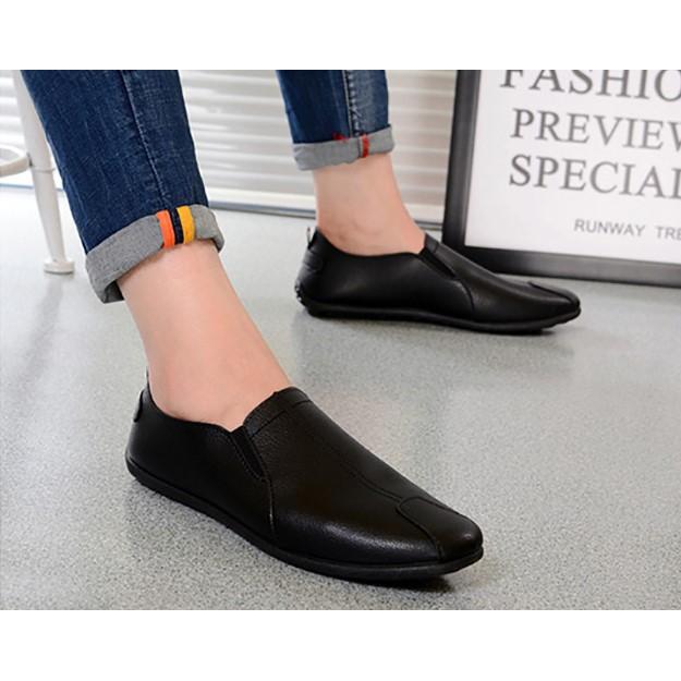 MMC รองเท้าแฟชั่น ผู้ชาย รองเท้าหนังแบบสวม (สีขาว ) (สีดำ)(สีส้ม)รุ่น