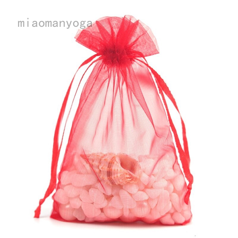 100Pcs Pouch Candy Packing Drawstring Bags Organza Wedding Party Favors Birthday