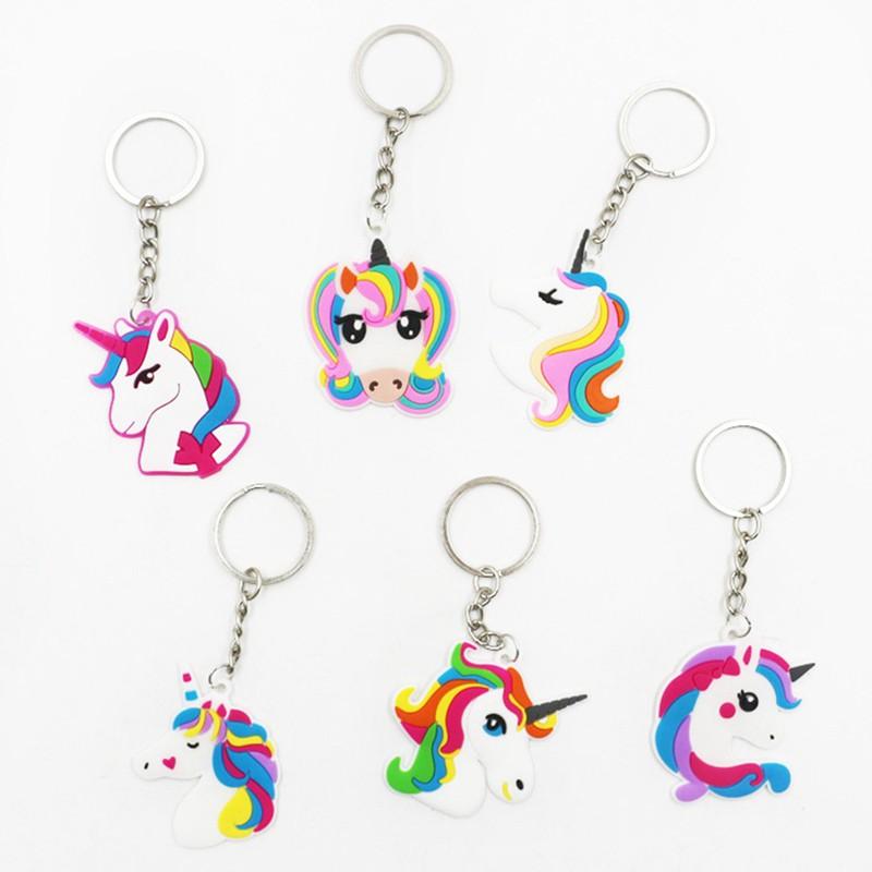 Cartoon PVC Unicorn Keychains Animal My Little Horse Poni Key Holder Woman  Car Key Ring Bag Pendant Fashion Jewelry