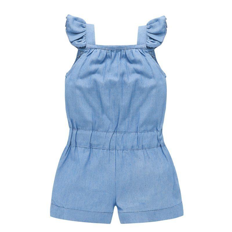 BOBORA Baby Girl Jumpsuit One-Pieces Blue Stripes Jumpsuit for 1-6Y
