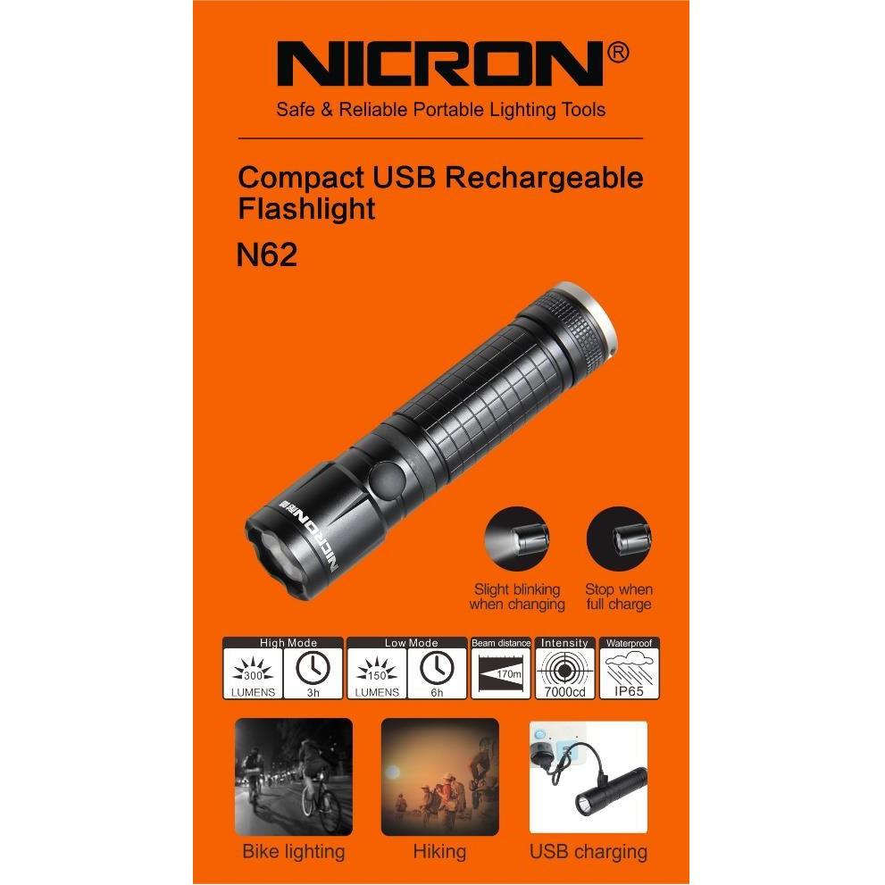 N62 NICRON BIKE COMPACT RECHARGABLE FLASHLIGHT TORCH LIGHT HIKINH LAMP IP65