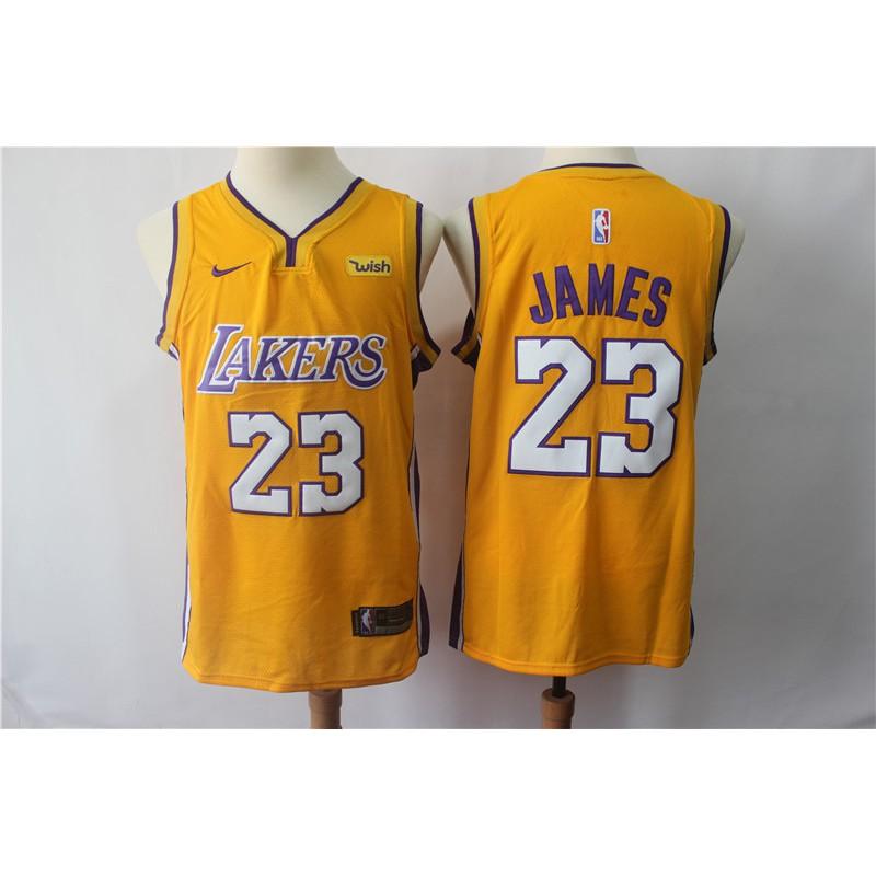online retailer 490c6 536de *nbajerseys* 2018-2019 Original Nike NBA Los Angeles Lakers LeBron James  #23 Yellow basketball jerseys S-XXL