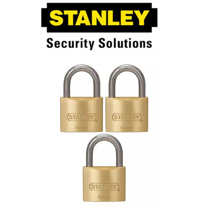 STANLEY STANDARD SHACKLE  KEY ALIKE BRASS PADLOCK  S827-420 50MM SECURITY LOCK