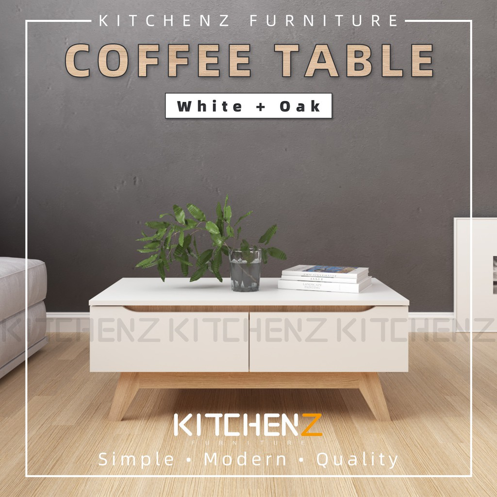 KitchenZ Simona 3.5FT Coffee Table Modernist Design Solid Board - HMZ-FN-CT-1396-WT