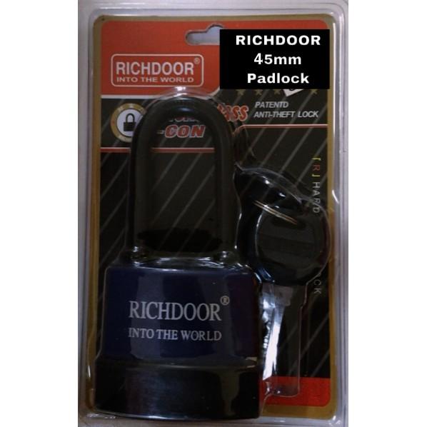 RICHDOOR Long Anti Theft Padlock Laminated Waterproof Padlock Weather Resistant Out Door Padlock 45mm