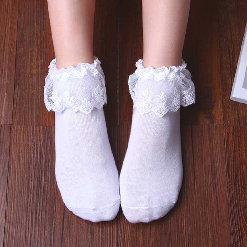 Fashion Women Lady Fishnet Socks Vintage Mesh Lace Ruffle Frilly Ankle Socks