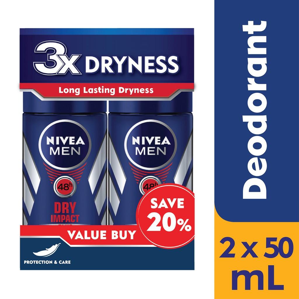 Nivea Men 48h Anti-Perspirant Dry Impact (50ml) [Twin Pack]