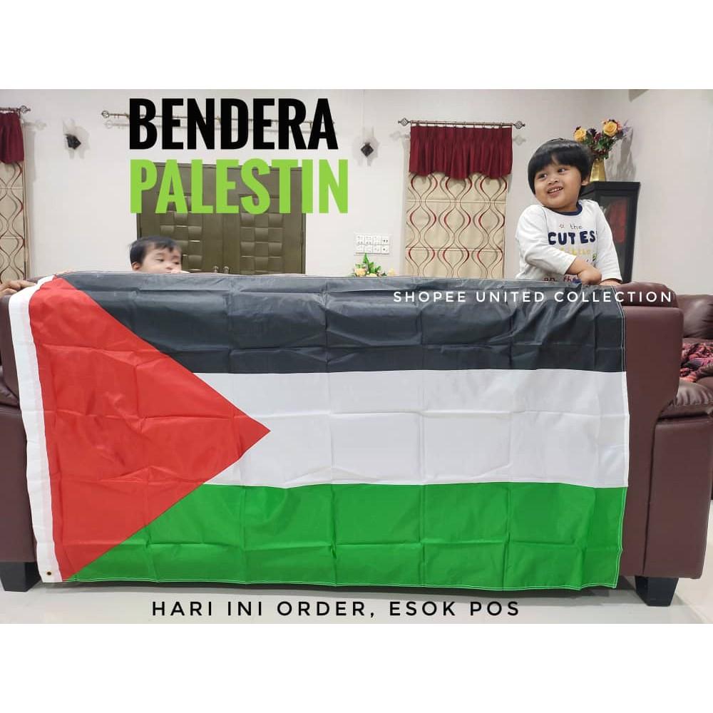[MALAYSIA SELLER] Bendera Palestin Besar Murah Readystock Palestine Flag 150cm x 90cm High Quality Bendera Malaysia Flag