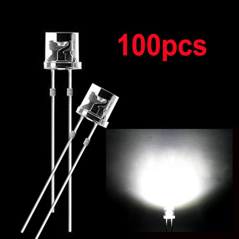 20 x LED 3mm Clear Cool White Ultra Bright Flat Top Wide Angle LEDs Light Car